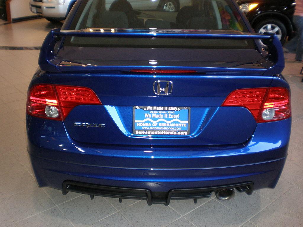 file 2008 blue honda civic mugen si sedan rear jpg wikimedia commons. Black Bedroom Furniture Sets. Home Design Ideas