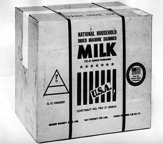 Powdered milk - National household dried machine skimmed milk. This was U.S.-produced dry milk for food export in June 1944.