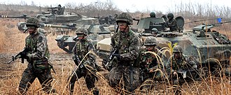 Combined arms - South Korean K-1 tanks, combat vehicles and infantry in Gyeonggi Province