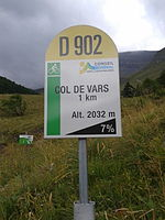 2014 Mountain pass cycling milestone - Col de Vars Jausier.jpg