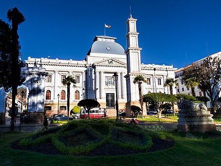 The Supreme Court Building in the capital of Bolivia, Sucre 20170805 Bolivia 1195 crop Sucre sRGB (26204170499).jpg