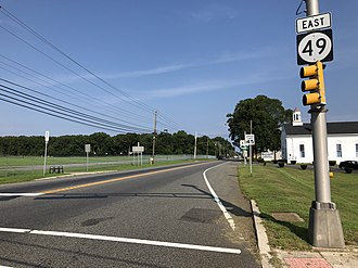 Fairfield Township, Cumberland County, New Jersey - Route 49 eastbound at CR 553 in Fairfield Township
