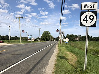 Quinton Township, New Jersey - Route 49 westbound in Quinton Township