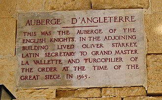 Auberge d'Angleterre - Plaque on the auberge