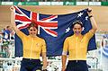 231000 - Cycling track Tania Modra Sarnya Parker Australian flag - 3b - 2000 Sydney race photo.jpg