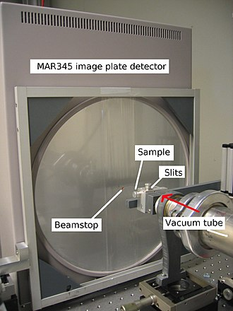 Diffractometer - The detector end of a simple x-ray diffractometer with an area detector. The direction of the X-rays is indicated with the red arrow.