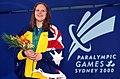 301000 - Swimming 100m freestyle S14 Siobhan Paton gold medal - 3b - 2000 Sydney podium photo.jpg
