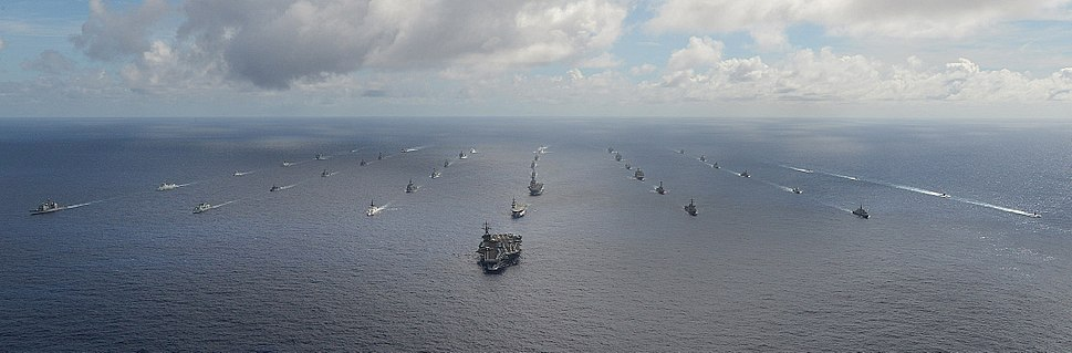 42 ships & subs from 15 nations in close formation during RIMPAC 2014