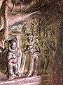 7th century Vishnu avatar Vamana legend in Cave 2, Badami Hindu cave temple Karnataka.jpg