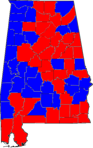 United States Senate election in Alabama, 1996 - Image: 96ALSenate Counties