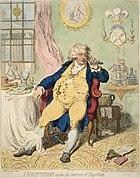 """""""A Voluptuary Under The Horrors of Digestion,"""" a caricature by James Gillray"""