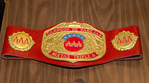 AAA World Mixed Tag Team Championship - The Female part of the AAA World Mixed Tag Team Championship belt, as of April 2012. The male part has a blue leather strap