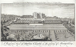Powis Castle - A View of Powis Castle with formal gardens, c.1780