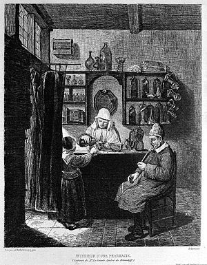 Camilla Erculiani - Image: A female apothecary mixing up a prescription for a child. Et Wellcome L0002919