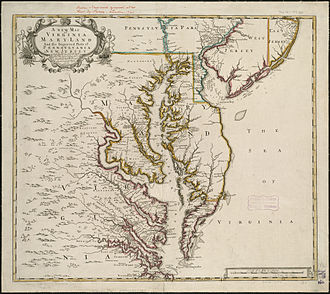 History of Baltimore - Map of Chesapeake Bay area circa 1721, with Baltimore County labeled near Maryland's border with Pennsylvania.