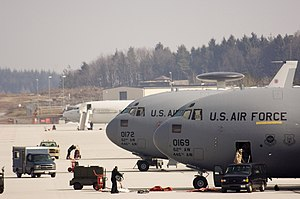 "Spangdahlem Air Base - Two Boeing C-17A Globemaster III (99-0169, 00-172 ""The Spirit of The Cascades"") and one E-3 Sentry (AWACS) aircraft at Spangdahlem on 22 March 2006."
