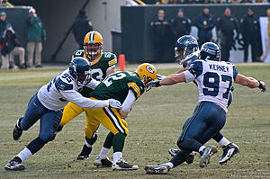 Lawrence Jackson - Lawrence Jackson and Patrick Kerney sacking Aaron Rodgers.