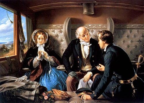 Segunda versión de la obra de Abraham Solomon Primera Clase - La Reunión (1855). La obra original, objeto de polémica al mostrar a los dos jóvenes dialogando mientras el hombre mayor dormitaba, tuvo que ser modificada por no ajustarse a la moral victoriana.
