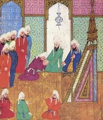 Persian Miniature:Saqifah wowing to Abu Bakar. On the the right Omar bin Khattab.