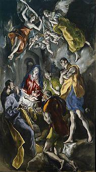Adoración de los pastores(1612-1614), destinada a su capilla funeraria fue una de sus últimas composiciones. Tres pastores de largos miembros en el inferior y los ángeles en el superior repiten luces y colores.   En el periodo español las figuras se fueron alargando desapareciendo la profundidad y los elementos ambientales.