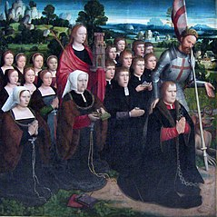 Our Lady of the Seven Sorrows (left wing of diptych: Joris van de Velde, his wife Barbara Le Maire and their children with Saints George and Barbara)
