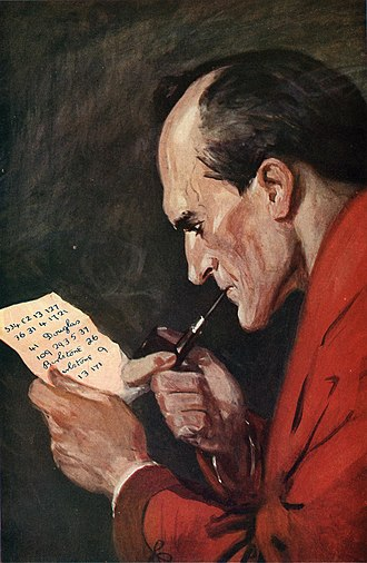 "Tobacco pipe - Sherlock Holmes smoking a pipe. This color painting by Sidney Paget first appeared in the September, 1914 number of Strand Magazine to illustrate the first installment of ""The Valley of Fear""."