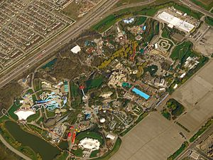 Canada's Wonderland - An aerial view of the park in May 2011.