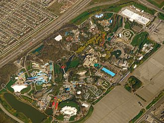 Golden Horseshoe - Aerial view of Canada's Wonderland on May 2011