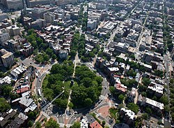 Aerial view of Logan Circle, facing southwest