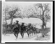 African-American soldiers marching in France.