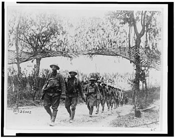 African-American soldiers marching in France D...