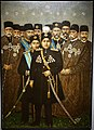 Ahmad Shah and his cabinet, signed by Assadullah al-Husayni chief painter, Iran, Tehran, probably 1914 AD, oil on canvas - Arthur M. Sackler Gallery - DSC05319.jpg
