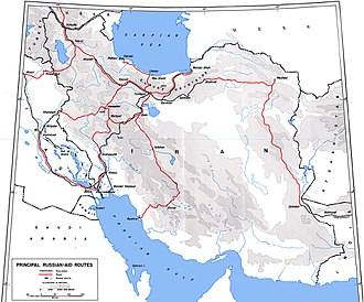 Persian Corridor - Allied road and rail supply lines through Persia into the USSR