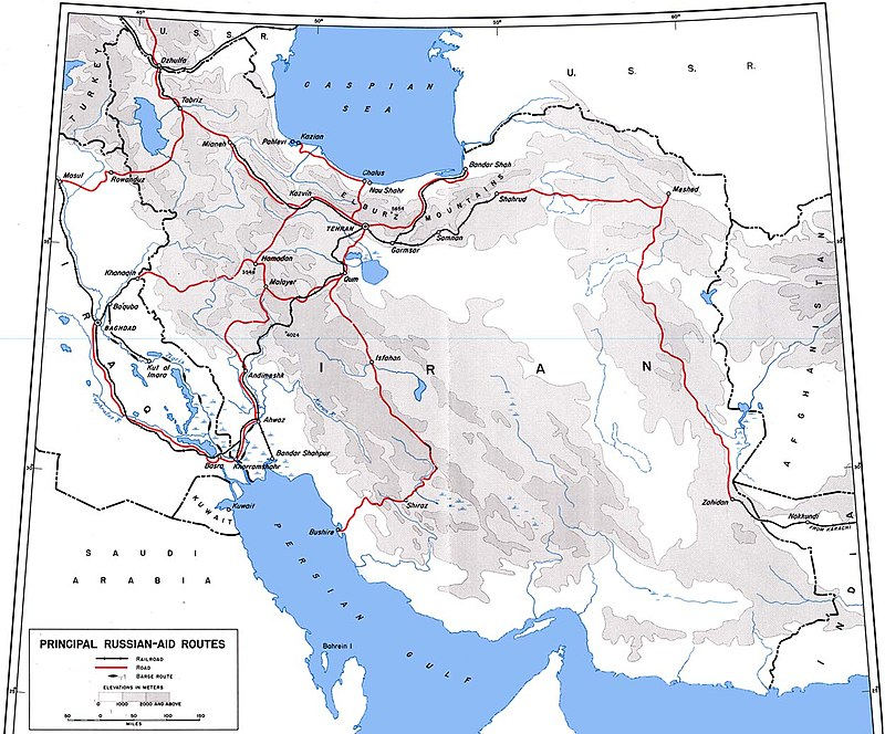 Allied road and rail supply lines through Persia into the USSR Aidroutes.jpg