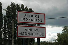 Sign at the entrance of the village