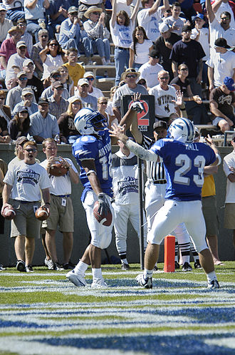 Chad Hall - Image: Air Force halfback Chad Hall helps running back Justin Handley celebrate his first Falcon touchdown