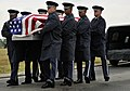 Airmen from the U.S. Air Force Honor Guard participate in the transfer ceremony during a funeral (17643308025).jpg
