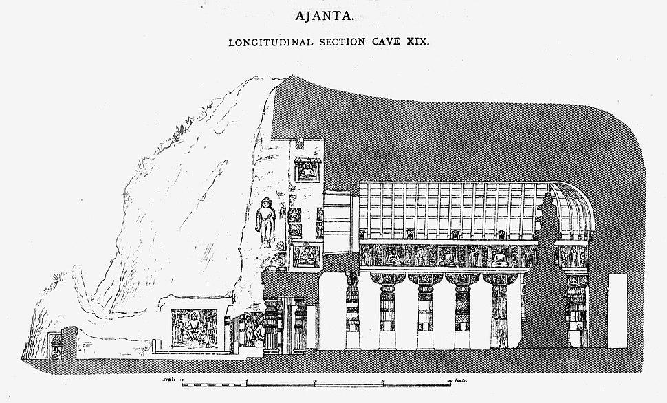 Ajanta Cave 19 longitudinal section