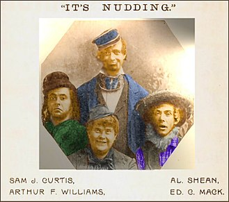"Marx Brothers - Al Shean, Sam J. Curtis, Arthur F. Williams, Ed C. Mack - The Original Manhattan Comedy Four in ""It's Nudding"" 1898-99"