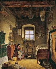 Die Witwe des Landwehrmannes (Bauernstube)