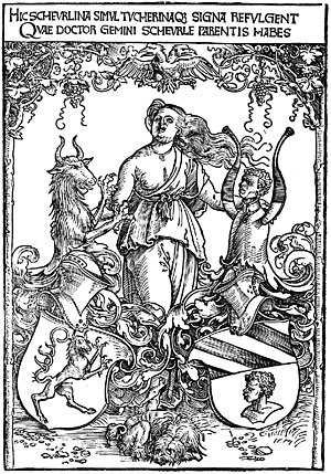Christoph von Scheurl - Albrecht Dürer: Crest of the Scheurl and Tucher von Simmelsdorf families, c. 1512