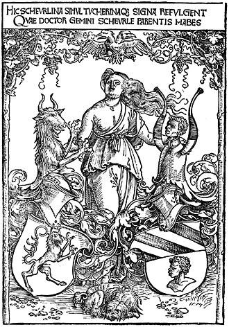 Christoph von Scheurl - Albrecht Dürer: Crest of the Scheurl and Tucher von Simmelsdorf families, c. 1512