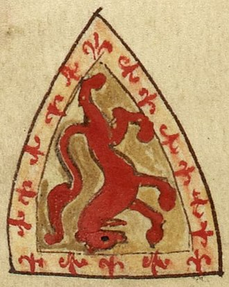 Alexander II of Scotland - Coat of arms of Alexander II as it appears on folio 146v of Royal MS 14 C VII (Historia Anglorum). The inverted shield represents the king's death in 1249. The blazon for the arms was Or, a lion rampant and an orle fleury gules.