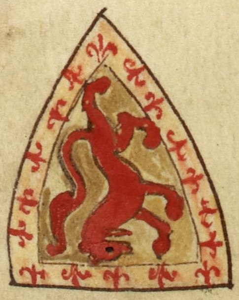 Alexander II, King of Scotland, coat of arms (Royal MS 14 C VII, 146v)