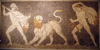 Kausia - Alexander (left), wearing a kausia and fighting an Asiatic lion with his friend Craterus (detail); late 4th century BC mosaic, Pella Museum.