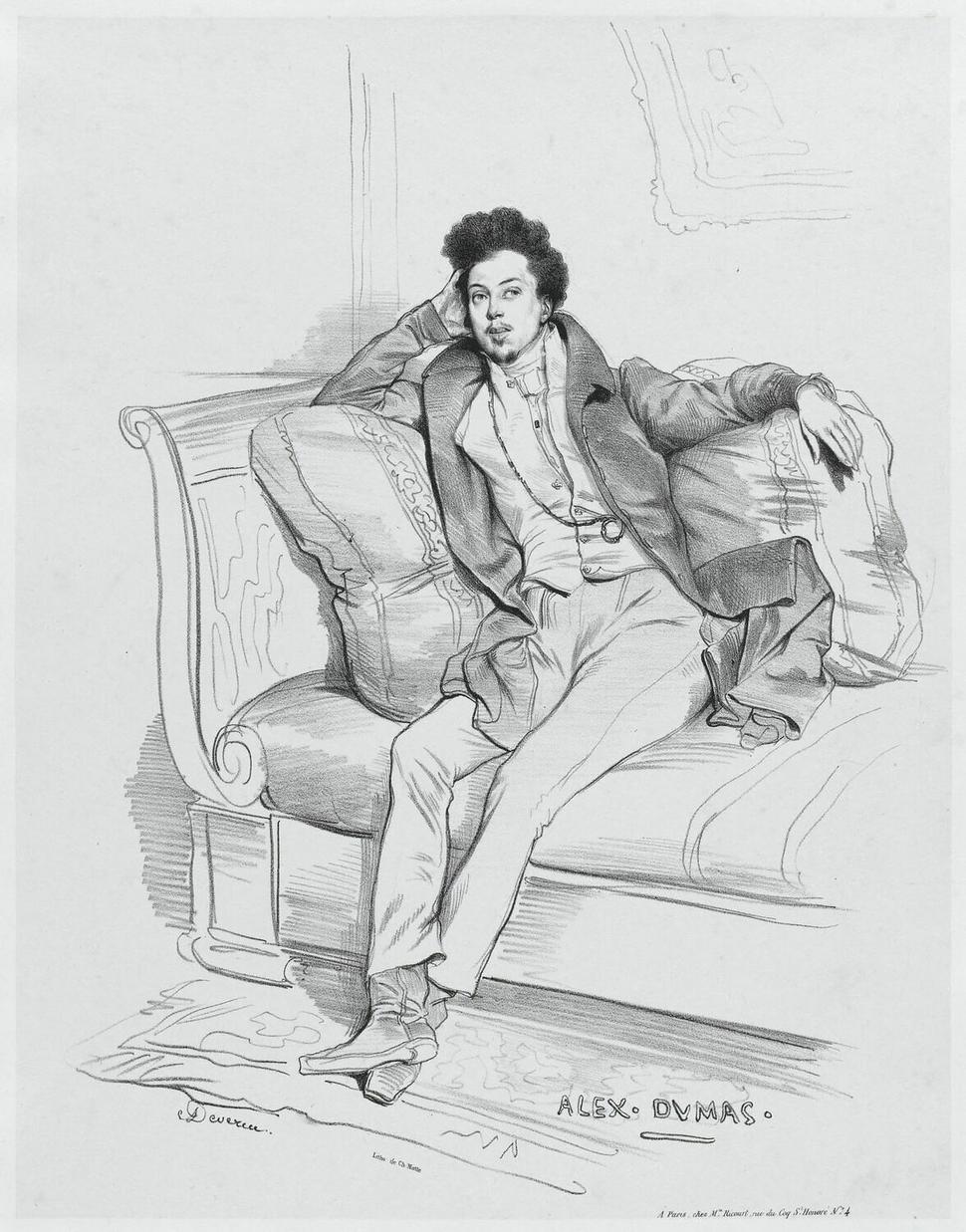 Alexandre Dumas par Achille Devéria (1829)