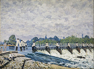 Alfred Sisley - Molesey Weir – Morning, one of the paintings executed by Sisley on his visit to Britain in 1874