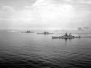 BatDiv - The four Iowa-class ships operating as Battleship Division 2 off the Virginia Capes in 1954; from front to back is Iowa, Wisconsin, Missouri and New Jersey