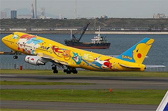 Pokémon - All Nippon Airways Boeing 747-400 in Pokémon livery, dubbed a Pokémon Jet.