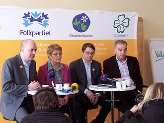 Alliance (Sweden) - Alliance for Sweden's press conference in Sundsvall during the bus tour of 6–7 March 2006. From left to right: Reinfeldt, Olofsson, Hägglund and Leijonborg.